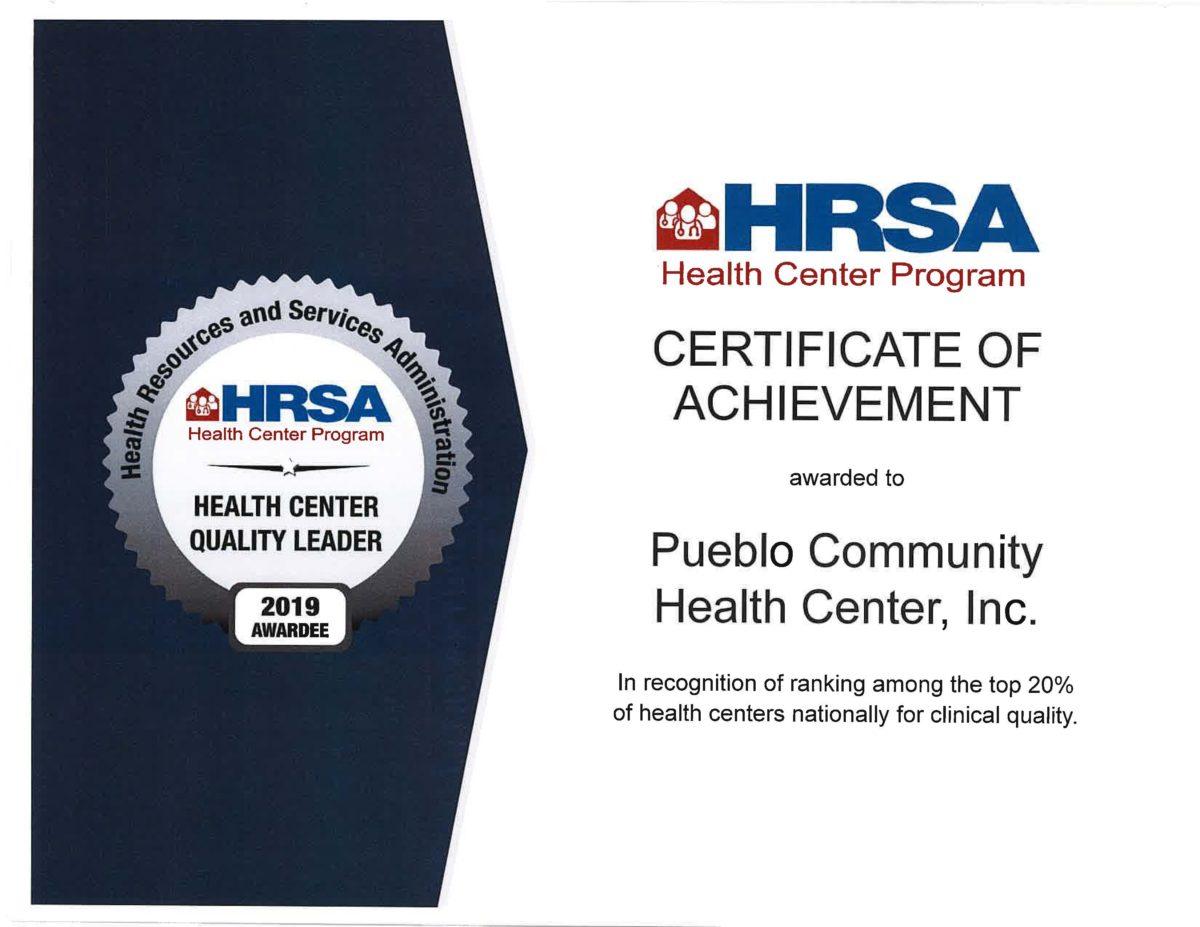 2019 HRSA Quality Award bestowed upon Pueblo Community Health Center