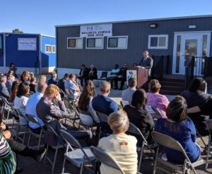 CEO Donald Moore giving speech at new School-Based Wellness Center