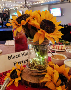 Sunflower centerpiece on Black Hills Special Event table